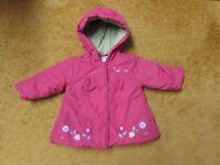 Baby girl DEBENHAMS LittleRocha hooded red cotton lined coat 3-6 mths flowers