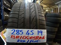 MATCHING SET 285 45 19 bridgestone runflats £90 pair £160 set supp & fittd 255 50 19s also avail