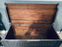 Vintage oak ottoman storage shoe toy box chest