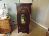 Antique wooden sheet music cabinet, has been used as a filing cabinet, hand illustrated panels.