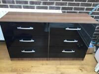 Black Gloss And Wood Effect Drawers