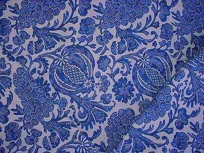 2+y P KAUFMANN BATIK INDIGO BLUE WHITE FLORAL DRAPERY UPHOLSTERY FABRIC