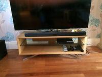 TV stand- light oak with glass shelf