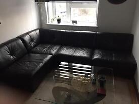 DFS Black Leather Corner Sofa Combined Of Three Individual Seats And One Corner Piece