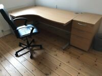 Office Desk, Chair and small Filing Cabinet