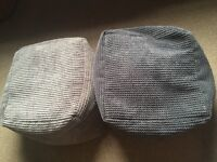 Two square beanbags one light grey/one darker. 18 months old non smoking house.