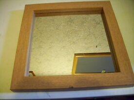 Small Oak Effect Wall Mirror 37 x 37 cm