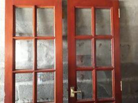 Indoor double doors with glass panes