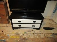 LOVELY UPCYCLED CHEST OF DRAWERS BLACK AND WHITE TV CABINET STAND HOUSEHOLD FURNITURE