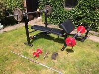 Marcy pro weight lifting bench with barbells and weights