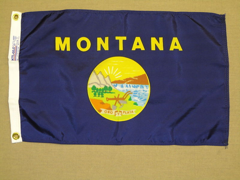 """Montana State Indoor Outdoor Dyed Nylon Boat Flag Grommets 12"""" X 18"""""""