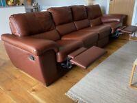 Nicoletti Italian Leather 4 Seater Recliner Sofa