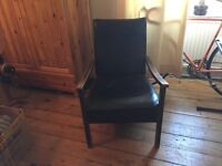 Vintage black leather arm chair