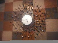 Large 80cm sunburst wall clock