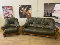 VINTAGE REAL LEATHER SOFA SET WITH WOODEN FRAME 3+1 seater