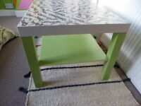Decoupage Coffee/Side Table - animal print with green legs