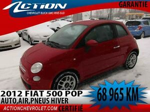 2012 Fiat 500 Pop,auto,air,4 cyl,mag,pneus hiver inclus