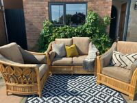 Bohemian cane wicker 3 piece arm chairs couch conservatory furniture perfect for upcycling