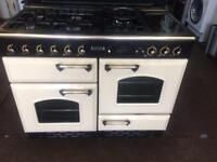 Black & cream leisure 110cm gas cooker grill & double ovens good condition with guarantee