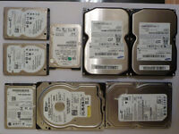 Assorted hard drives