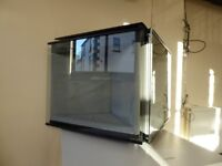Wall mounted display cabinets with internal lighting, with locks