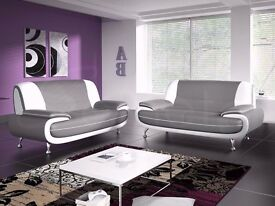 - 14 days money back guarantee - Italian Leather 3+2 sofa set - 4 colors in stock - BRAND NEW -