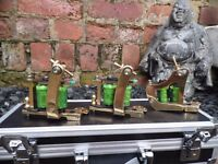 3 HAND BUILT SOLID BRASS TATTOO MACHINES PAINFUL IRON COILS / RINGMASTER SPRINGS