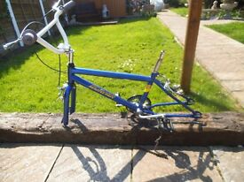 old used 80's bmx bike frame,forks,crank.brakes - 80's see photos - Bargain not Raleigh Burner