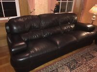 Black leather sofa suite 2x3 seater, 1x2 seater and footstool, in immaculate condition