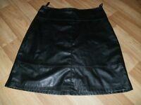 ladies black faux leather skirt