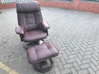 Leather reclining swivel chair and foot
