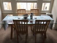 Like-new Habitat DUBLIN walnut oak and glass dining room table, seats six