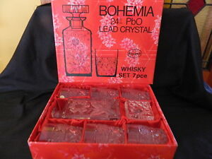 BOHEMIA LEAD CRYSTAL WHISKY SET FLOWER PATTERN DECANTER/6 GLASSES NIB