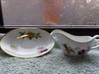 Royal Worcester fine Porcelain sauce boat with matching saucer