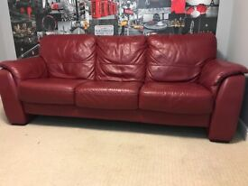 Red 3 seat leather sofa