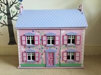 Bluebird Wooden dolls house with furniture and figures in excellent condition