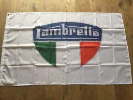 Lambretta motorcycles workshop flag banner