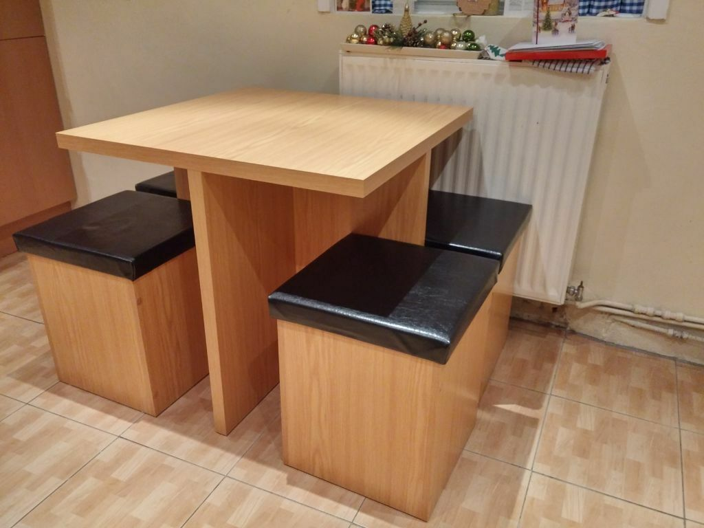 Space Saver Table And Chairs Argos: Hygena Bartley Space Saver Dining Table And 4 Stools