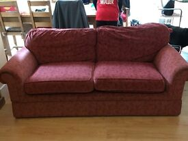 Red patterned couch