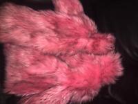 Next pink fur coat age 5