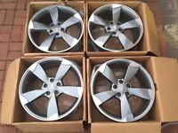 "4 x NEW 18"" AUDI ROTOR ALLOY WHEELS 5x112 5 112 POLISHED AUDI A5 VW golf mk5 mk6 a3 w203 class"