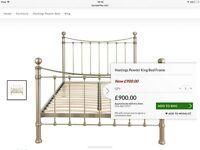 King size metal bed frame, ex Laura Ashley