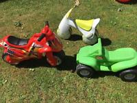 3 ride-ons Little Tykes quad bike, Bouncycle & NeoX Racer
