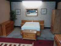 Pine Double Bed with 2 Storage Drawers/ 2 Bedside Cabinets/ Headboard GF034