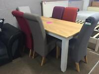 Ex-display/seconds**Oak and grey dining table and 6 quality chairs ONLY £425