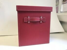 Red leather storage cubes x3