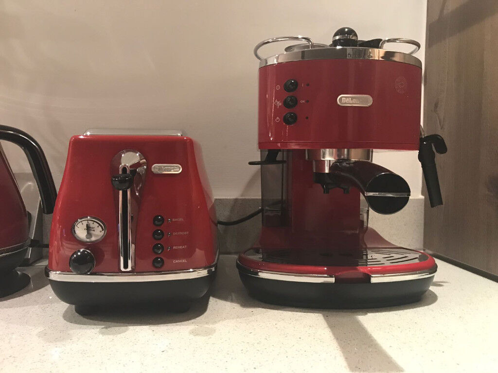 Red Delonghi Icona Coffee Maker And Toaster In Edinburgh