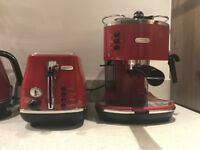 Red DeLonghi Icona Coffee Maker and Toaster