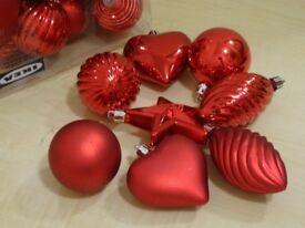 38 X IKEA CHRISTMAS TREE DECORATION - BAUBLES, HEARTS, STARS ETC - READY TO HANG
