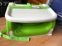 Kids baby munchkin green travel booster seat, adjustable feeding tray
